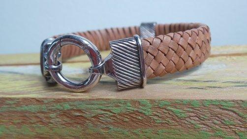 Herren-Armband Leder-Silber, Corrado