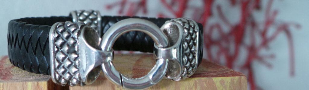 Herrenarmband Corrado, Leder und 925 Sterling Silber geschwärzt mit Ring-Verschluss
